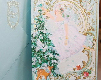 Snow Fairy Queen Magical Christmas Winter Greeting Card Set - Two Sizes Available