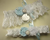 Blue Wedding Garter Set, Personalized Garters in White or Ivory Venise Lace, with Handmade Roses, Pearls, Rhinestones, and Engraving