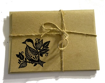 FREE Shipping Handmade Note Cards with Embossed Bird- Black