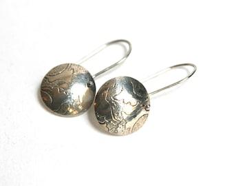 Silver Etched Lily Earrings, Sterling Silver Earrings, Handmade Earrings, Flower Earrings, Unique Earrings, Drop Earrings