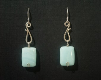Sterling Silver hand made earrings with amazonite