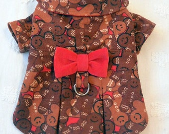 Flannel Dog Harness Coat Dress Christmas Winter Gingerbread Men