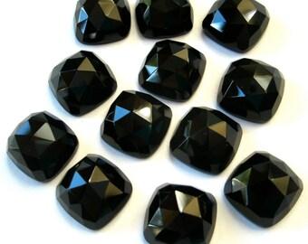 Gemstone Cabochons Onyx Black Cushion Rose Cut 10mm FOR TWO