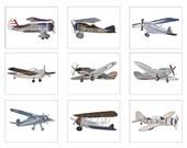 Airplane Art, Airplane Decor, Airplane Nursery, 9 Unframed 8 x 10 Art Prints, Retro Vintage Airplane Bedding Decor