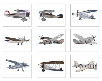 Airplane Decor, Airplane Art Decor, Vintage Airplane Nursery Decor, Unframed 8 x 10 Art Prints, Vintage Airplane Bedding Decor,Pick Colors