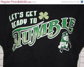 Lets Get Ready to Stumble cut couture St Patricks Day black t shirt size LARGE L