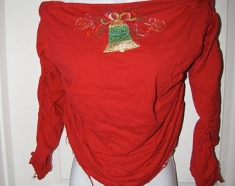 Clearance items 70% off - CHRISTMAS BELL inspired long sleeve red backless shredded t shirt size LARGE L