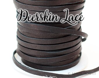 Boho Soft and Supple Black Deerskin Lace Leather 3mm / 1/8 Inch / 50 ft Spool