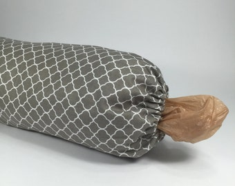 Fabric Grocery Bag Holder - Plastic Bag Dispenser - Taupe and White Cotton