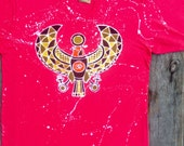 Horus egyptian batik t shirt hand painted & hand dyed - bohemian clothing - red with splatter