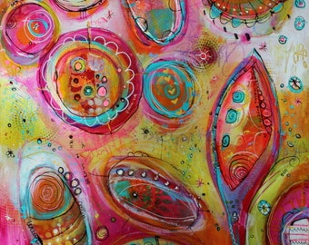 Why Not  Pod Painting Podtastic Collection  18 x 24 in magenta, teal, green, white by Jodi Ohl