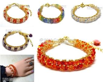 Multicolors Gold Swarovski Crystal Bracelet by CandyBead
