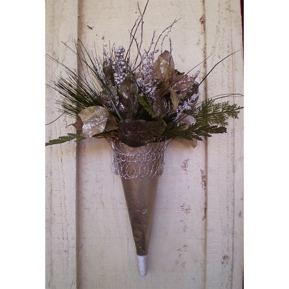 Winter Yule Christmas holiday home decor wall hanging floral arrangement Victorian flower cone