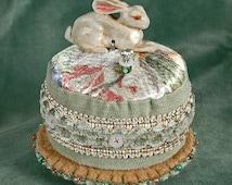 White European Hare Ceramic Pincushion with Sage  French Trim