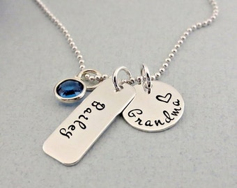 Personalized Grandma Necklace - Grandchild Name Necklace with Birthstone - Personalized Grandmother Jewelry - Mother's Day Gift - Nana - Oma