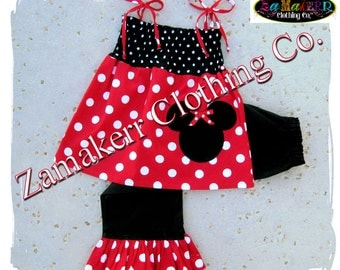 Black White Red Polka Dot Minnie Mouse Outfit Pant Set Pageant Birthday Toddler Girl Clothing Top Size 6 9 12 18 24 month 2t 3t 4t 5t 6 7 8