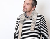 Mens linen scarf - Linen Infinity Skinny Scarf - Repurposed real vintage French and German mail bags - Men Fashion