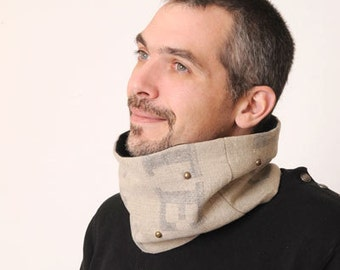 Linen Mens cowl, Upcycled Burlap Tube scarf, Mens Cowl in recycled Beige French mail bag, Gift for men