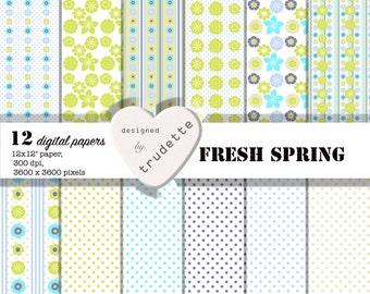 Digital Paper - Fresh Spring - 12 papers - digital download - floral
