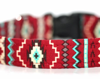 Personalized Red Aztec Tribal Dog Collar - Camelback