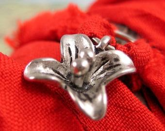 Yoga Wrap Bracelet with Silver Lotus Charm on Recycled Sari Ribbon
