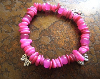 Sassy Bows Glass and Candy Jade Beaded Stretch bracelet