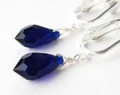 Dark Cobalt Blue Clip-on Earrings, Silver Ear Clips, Navy Blue Faceted Crystal Teardrop Clip On Earrings, Simple Dangle Clip Earrings, Erie