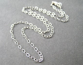 20 Inch Sterling Silver Chain Necklace, Lobster Claw Clasp, .925 Sterling Silver 2.7mm Modern Flat Cable Chain, Simple Necklace Chain