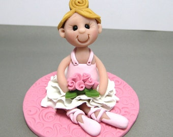 Ballerina Girl polymer clay Birthday Cake Topper decoration figurine Made To Order