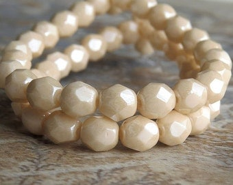 6mm Opaque Champagne Luster Czech Glass Bead Faceted FP Round : LAST 25 pc 6mm Champagne Bead