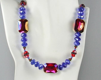 Red and Blue Crysta and Pink Rhinestonel Statement Necklace