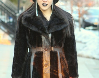 vintage dark brown leather faux fake mink fur coat jacket
