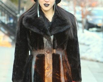 vintage dark brown leather faux fake mink fur coat jacket