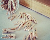 10 mini baby Natural Wood Wooden Pegs peg  - Craft Supplies Pin
