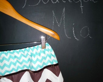 Will fit Size XS/S - Ready to MAIL -  A-line Skirt - Choclate and Aqua Chevron - by Boutique Mia