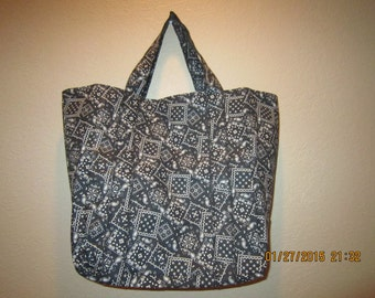"""Extra Large Durable 14"""" Grocery Shopper Tote Bag Black Bandana   CLEARANCE 40% Off  Was 17.00*"""