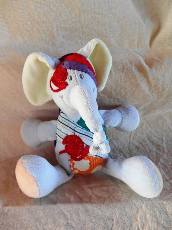 "Soft Toy re-covered ""Elefant"" fabric and jersey thread"