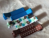 BLUE & BROWN Conversation Hearts Set of 6 non-slip Fully Lined alligator clip / clippies barrettes Buy 3 sets get 1 free
