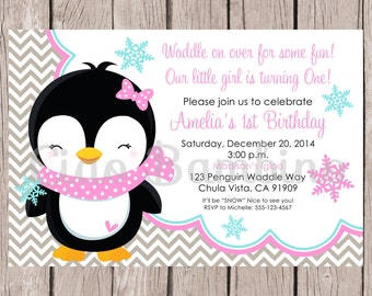 PRINTABLE Penguin Birthday Party Invitation / Pink, Gray & Blue Penguin Winter ONEderland Birthday Party Invitation / You Print - 0017