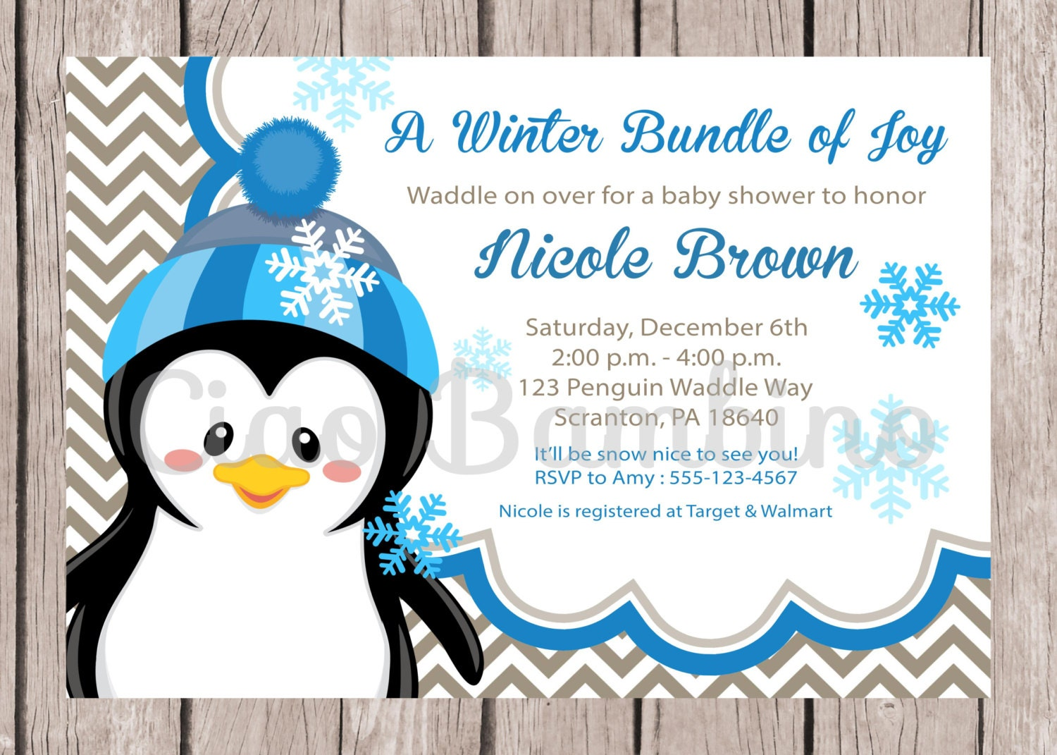 printable penguin baby shower invitation winter by ciaobambino