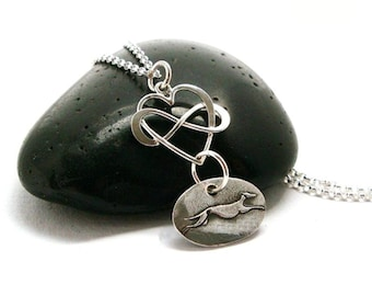 Infinite Love Greyhound Necklace - Greyhound - Whippet - Greyhound Jewelry - Fine Silver - Sterling Silver - Heart - Infinity