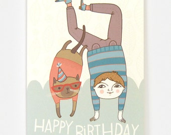 Birthday with Siamese Cat - Greeting Card