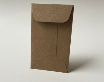 25 Kraft Mini Envelopes with Flap, Brown Bag Gift Enclosure, Rustic Wedding Envelopes, Gift Certificate Holder, Mini Coin Country Envelopes