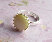 Yellow Pearl Ring Mother of Pearl Ring Silver Pearl Ring cocktail ring statement ring  for her under 25, Gift for Her Jewelry