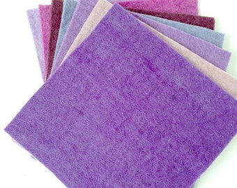 100% wool felt sheets - all handmade - Set of 7 pieces - Purple palette