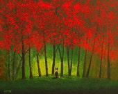 German Shepherd Dog Folk Art Print by Todd Young painting AUTUMN FOREST LIGHT