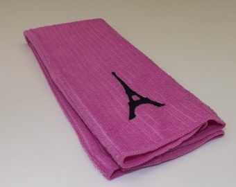 Embroidered Eiffel Tower Kitchen Towel - Pink and Black
