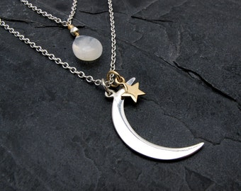 moon and star necklace, moonstone pendant, moon and star pendant, celestial necklace, astronomy gift, galaxy jewelry, moonstone necklace