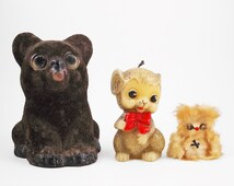 Creepy Cute Collectibles, Weird Animal Trio, Flocked Vintage Coin Bank, Anthropomorphic Figural Candle, and Real Fur Cat? Thing?