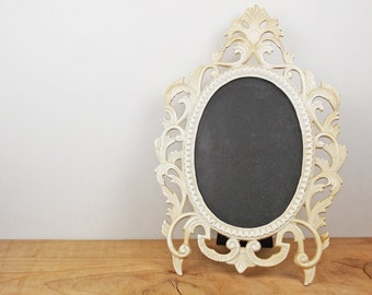 Vintage Rococo Standing Frame, Shabby White Painted Fancy Brass Frame, Ornate Oval Frame